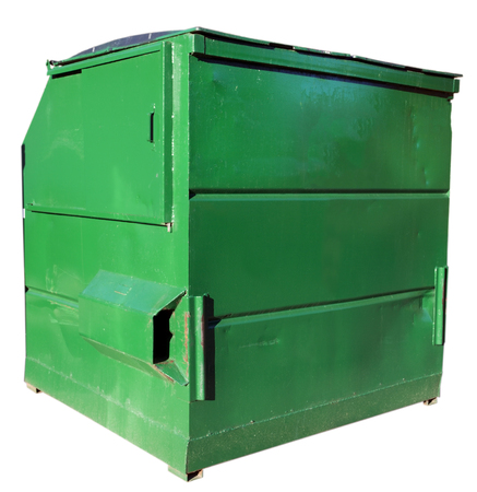 Used and dented green industrial dumpster. Isolated. Banco de Imagens