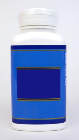 Medication vitamin bottle with blank blue label.