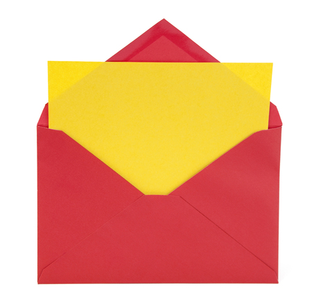 Red envelope with blank yellow note card. Isolated. Stok Fotoğraf