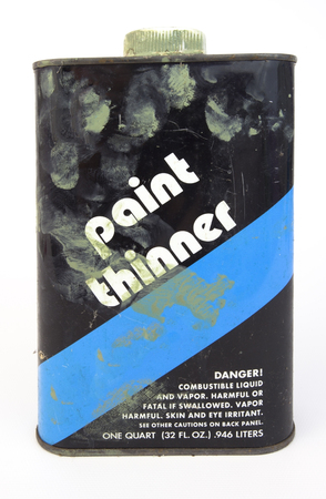 Dirty, smudged paint thinner can. Vertical. Stok Fotoğraf