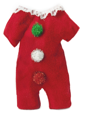 Isolated toddlers holiday Santa suit. Vertical. Stok Fotoğraf