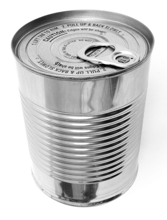Isolated ribbed steel food can with ring pull tab tops. No label. Stock Photo