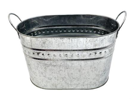 New galvanized metal washtub. Isolated. Banco de Imagens