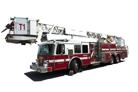 Fire truck with extension ladder Isolated