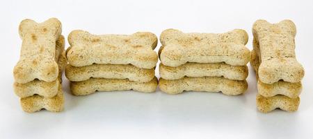 Dog bone treats stacked in bone shape.