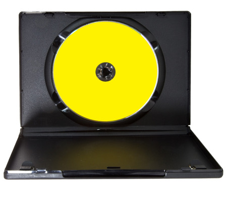 Open black plastic case with CD DVD with yellow label. Isolated. Banco de Imagens