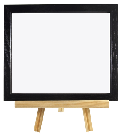 Blank black wood frame on presentation easel. Copy space. Isolated. Horizontal. Фото со стока