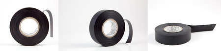 Three views of black electricians tape.