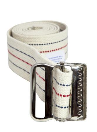 Coiled medical gait or transfer belt. Isolated. Banco de Imagens