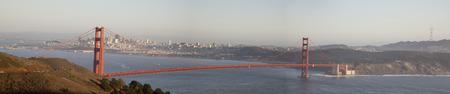 Golden Gate Bridge panorama seen from the Marin Headlands. Banco de Imagens