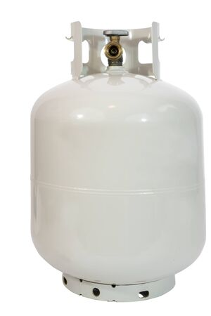 Isolated compressed lpg propane in grayish white canister.