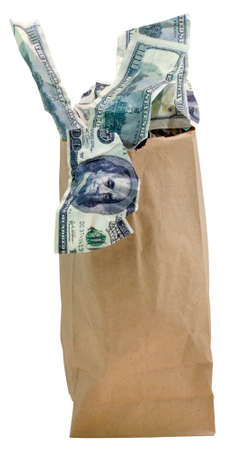 Brown paper bag filled with hundred dollar bills. Isolated.
