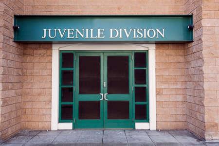 Juvenile police building door entrance.