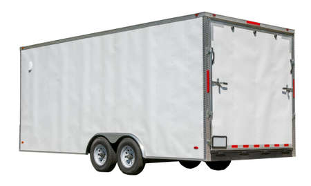 Side and rear view of isolated cargo freight trailer.