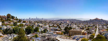 Panorama from San Francisco's Billy Goat Hill overlooking Noe Valley.