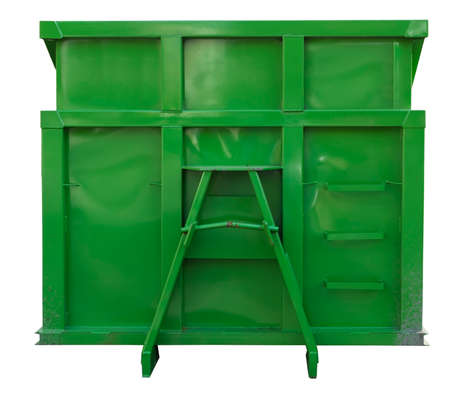 Newly painted green industrial dumpster container. Isolated.