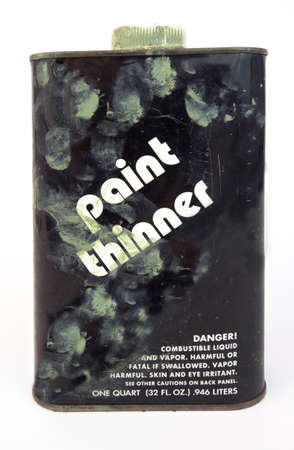 Used, smudged paint thinner can.Isolated.