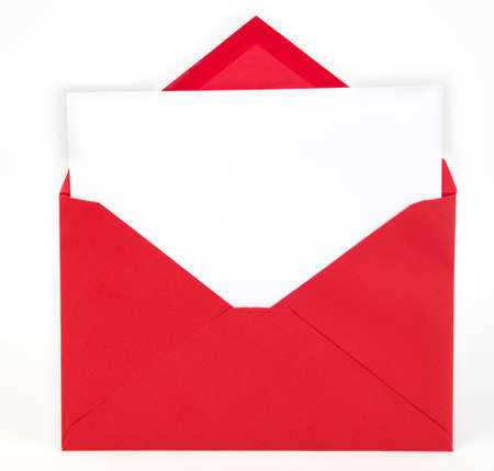 Red envelope with open flap and white note card inserted. Copy space.