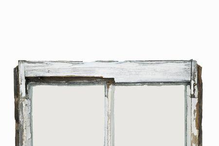Close up of rotten sash window frame against white background. Sash window restoration. Reklamní fotografie