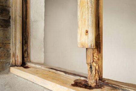 Close up of rotten sash window frame against white background. Sash window restoration.