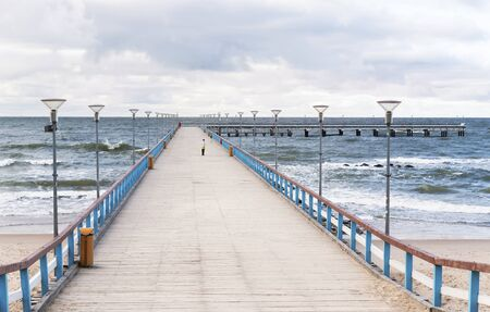 The view of Palanga bridge to the Baltic sea in Lithuania Stock Photo