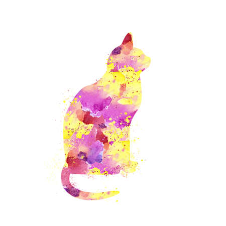 Cat with Watercolor Splash effect against clear white background.