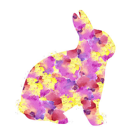 Rabbit with Watercolor Splash effect against clear white background.