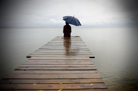 rain umbrella: Silent Place Stock Photo