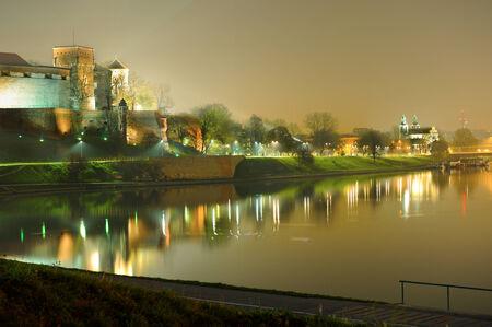 Wawel Castle in Krakow, Poland at night