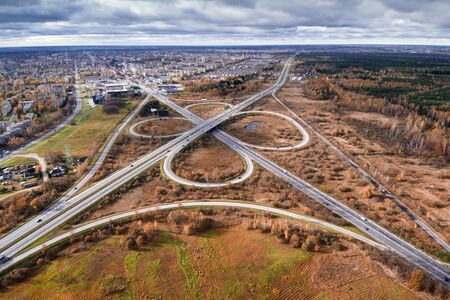 city highway overpass, high angle view - Image