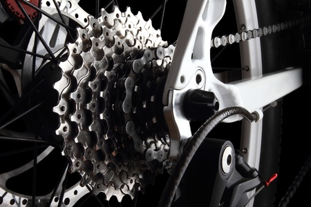 Bicycle gears and rear derailleur photo