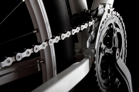 bicycle wheel: Studio shot of bicycle crank, chain, derallieur and rear wheel  Stock Photo