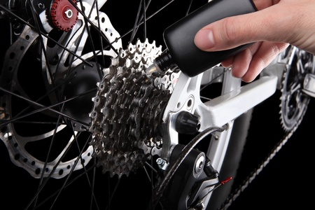 bicycle frame: Bicycle gears and rear derailleur Stock Photo