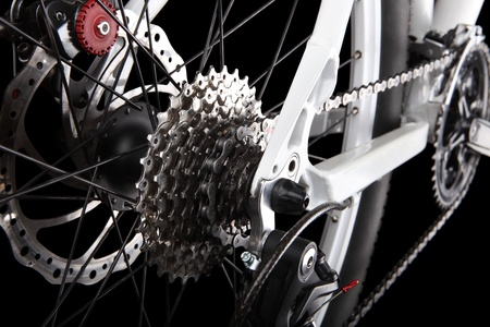 bicycle gear: Bicycle gears and rear derailleur Stock Photo
