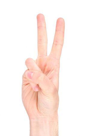 El número dos en la lengua de signos Foto de archivo