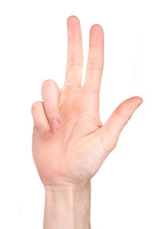 El número tres en la lengua de signos