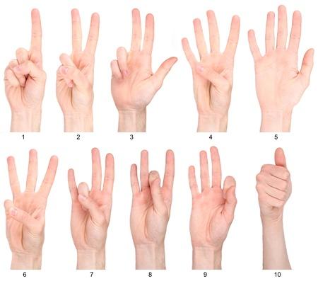 Número 1-10 en lengua de signos Colección de conteo mano