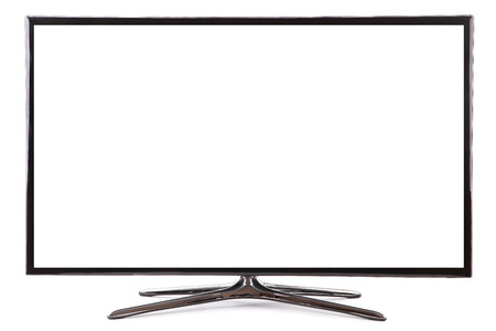 Smart tv widescreen led tv monitor isolated on white 写真素材