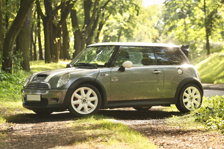 cooper: Poland, August 29 2014: Mini Cooper S in the forest