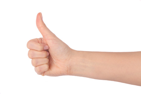 thumbs up isolated on white background Foto de archivo