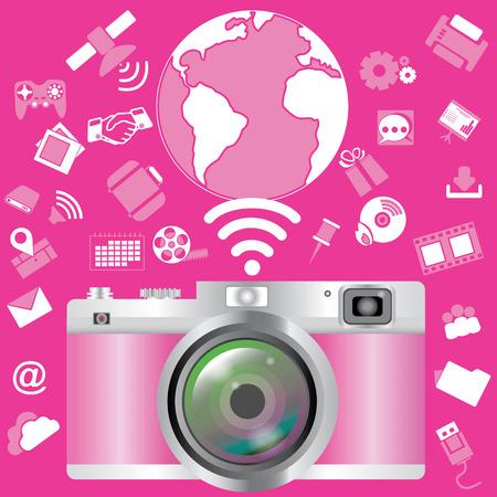 Pink camera Vector