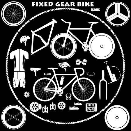 biking glove: Fixed gear bike icons