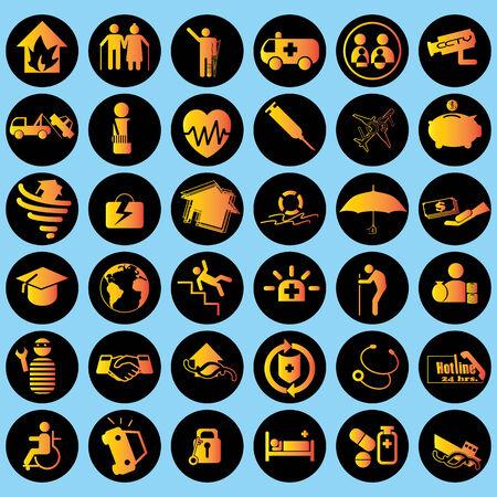 Icon on Insurance orange, yellow on black circles. Vector