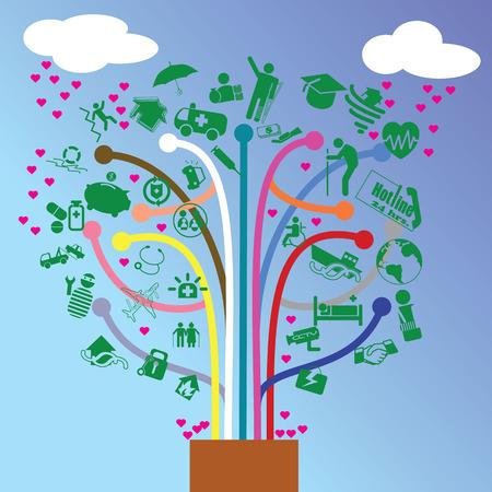 Icon Versicherung in Form von Bäumen, die Früchte in der Liebe tragen wird. Standard-Bild - 31426617