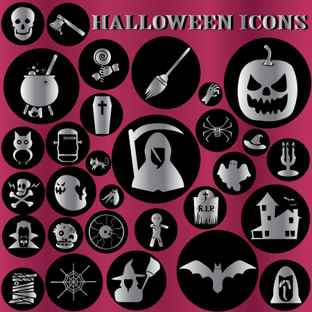 metallic halloween icons Vector