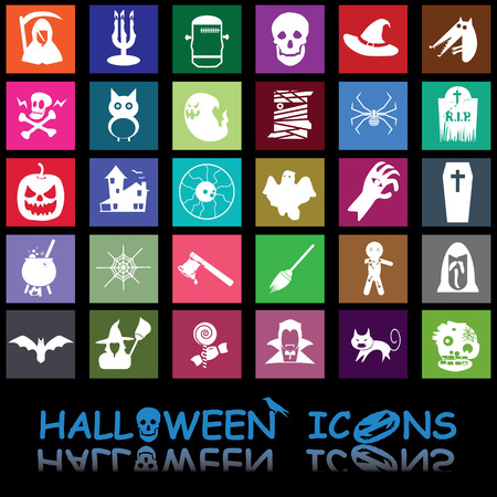 white halloween icons on colorful square Vector