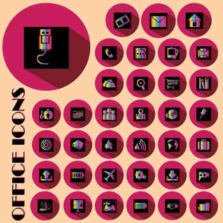 conection: iconos de oficina arco iris de colores en sombra Squareand negro en el c�rculo de color rosa Vectores