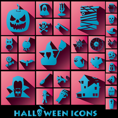 blue halloween icons on pink square and shadow Vector