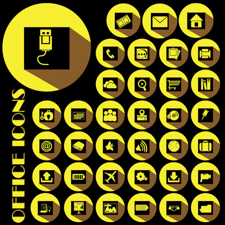 conection: yellow office icons on black color square and yellow circle Illustration