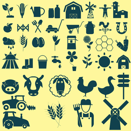mowers: Agriculture icons set black color Illustration